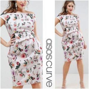 ASOS Curve Bardot Floral Ruched Formal Dress